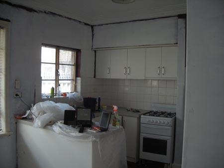 The kitchen alcove - primed centres, original edges
