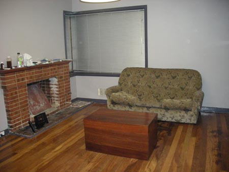Fireplace, sofa and chest.