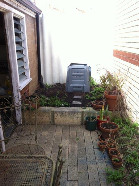 Garden tableaux around compost bin